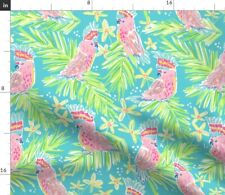 New listing Pink Cockatoo Summer Tropical Palms Jungle Preppy Spoonflower Fabric by the Yard