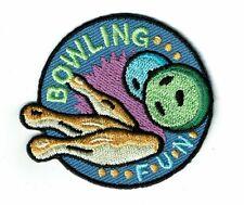 Girl Boy Cub Scout Girl Guide Fun Patch -Bowling