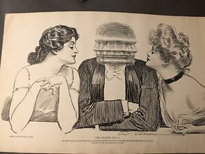 """1906 Vintage Print """"The Weaker Sex"""" by Charles Dana Gibson Girls and Guy"""