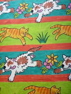 Children Baby Nursery Cats Dogs Print green blue Curtains Cushion Fabric -1.7mtr