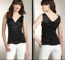 Nanette Lepore Silk Top Size 8 Medium NWT Black Blouse Ruched Evening Tank $195