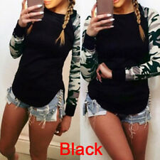 Plus Size Women Autumn Blouse Top O-neck Long Sleeve Camouflage Print T-shirts Z Army Green M