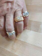 Men's Fashion Rings Bling 18K Gold-plated (Lot of 3) w/Rhinestones Pre-owned