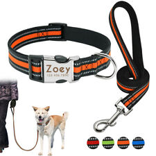 Reflective Nylon Dog Personalised Collar and Lead set Engraved Pet ID Name Tags
