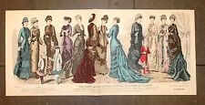 THE YOUNG LADIES JOURNAL 1880 Original 33x74cm mode fashion enfants Children