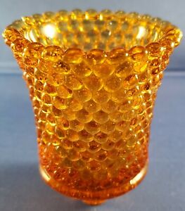 """amber hobnail glass peg votive sconce candle holder 3.5"""" tall, 2-3/4"""" dia Taiwan"""