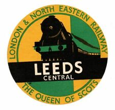 More details for l n e railway luggage label - the queen of scots - leeds central