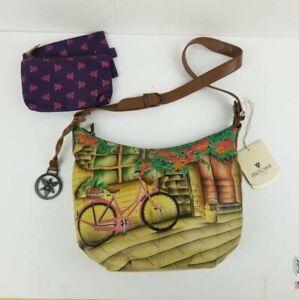 Anuschka Hand Painted #471-VTB VINTAGE BIKE Bucket Hobo Shoulder bag Purse