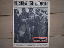 FAUSTO COPPI BIANCHI COVER COPERTINA ILLUSTRAZIONE DEL POPOLO 1951 CADUTA TORINO