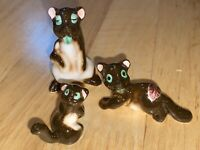 RARE 3 VTG Miniature NAPCO RODENT FAMILY Ceramic Porcelain Animal Japan