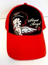 Betty Boop Black Adjustable Baseball Cap Hat One Size Black Red New Angel Biker