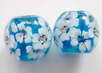10pcs exquisite handmade Lampwork glass beads blue white flower 14mm