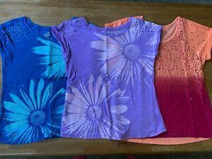 Justice girls lot of 3 tops shirts t-shirts flowers blue purple orange 14 VGC