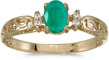 10k Yellow Gold Oval Emerald And Diamond Ring (CM-R2205-05)