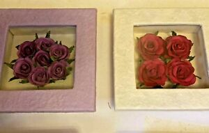 """Pair Purple & Red Roses Wall Hanging  Shadow Box ~ 5"""" x 5"""" x 1.5"""". New in Box"""