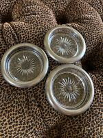 Vintage Italian Crystal Glass & Silver Plate Coaster/Ashtray Set of 3 Italy
