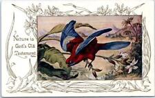 "Art Noveau   ""Nature is God's Old Testament"" Quote  BLUE WINGED PARROT  Postcard"