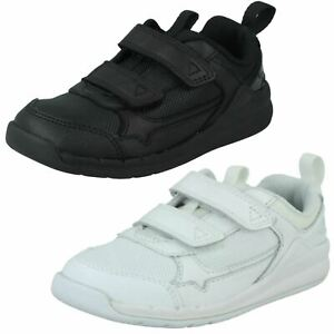 Childrens Clarks Casual Hook & Loop Leather & Textile Trainers Orbit Sprint