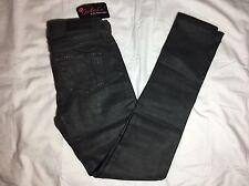 NWT - Womens Big Star Alex Skinny Coated Gotham Black Denim Jeans - Size 25