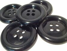 4 GIANT BLACK 50mm LARGE PLASTIC BUTTONS 60s 70s PSYCHEDELIC VINTAGE FANCY DRESS