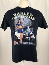 Harley Davidson Short Sleeve Navy Blue Police Pin Up Girl T-shirt Men's Sz Large