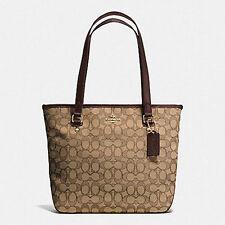 NWT Coach 58282 Outline Signature Zip Top Tote Handbag Fabric Khaki / Brown