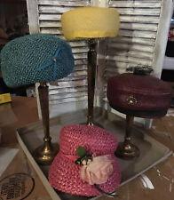 Vintage Lot Of 4 Ladies Women's Woven Hats Union Made, Paris Boutique