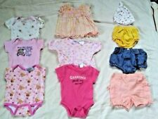Lot of 10 Baby Girl Clothes Size 3-6 Months Summer Dress Shorts Shirt Bodysuits