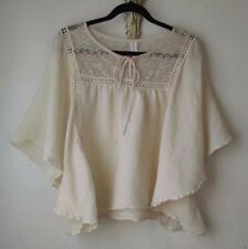 No Boundaries Peasant Blouse XXL Ivory Crinkly Rayon Lace Batwing Hippe Boho