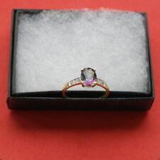 BEAUTIFUL 9CT YELLOW GOLD OVAL MYSTIC TOPAZ & DIAMOND RING 1.3 GR.SIZE  N12