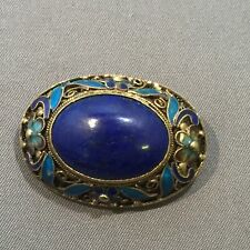 Antigue/ Vintage Gilt Filigree Enamel Silver Lapis Lazuli Brooch