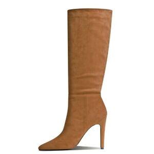 Women Pointy Toe Stilettos High Heel Wedding Bridal Mid Calf High Boots 34-43 L