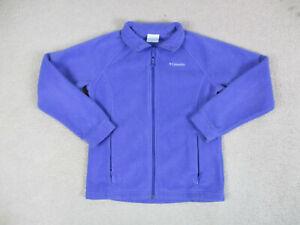 Columbia Sweater Boys Large Purple Fleece Full Zip Outdoors Youth Kids *