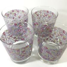4 Ikea pink floral design juice drinking glasses high ball glassware, retired