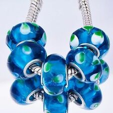 5pcs Silver Plated Murano Glass Lampwork European Charms Beads Fit Bracelet
