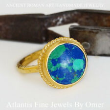 TURQUOISE RING 24K  GOLD OVER 925 STERLING SILVER BY OMER TURKISH FINE JEWELRY