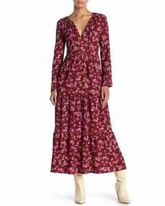 Free People Womens Tiers of Joy Prairie Maxi Dress Floral Long Sleeve Size L NWT