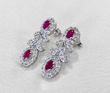 Ohrhänger 585 Weißgold Rubine 1,13 Ct Diamanten 0,33 Ct