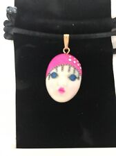 """Pink Champagne "" Adagio Face Necklace Hand-Painted Porcelain Swarovski Crystal"