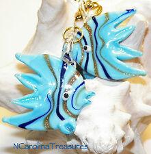 GLASS CEILING FAN SWITCH PULL LIGHT BLUE STRIPED ANGEL OCEAN FISH SEA LG PR F143