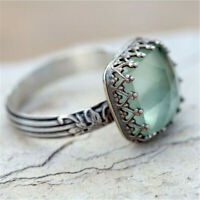 Women 925 Silver Green Gemstone Ring Fashion Peridot Wedding Jewelry Sz 6-10