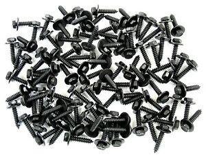 Black Trim Screws- M4.2 x 20mm Long- 7mm Hex- 12mm Washer- 100 screws- LD#224H