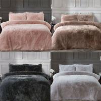 Winter Warm Soft Fleece Bedding Long Pile Shaggy fur Duvet Set with Pillow Cases
