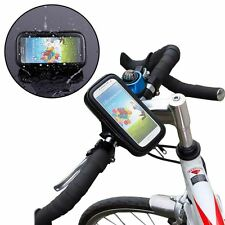 "BLACK 5.3"" UNIVERSAL WATERPROOF BIKE HANDLEBAR MOUNT CASE POUCH UK"