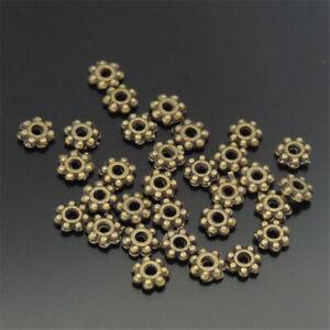 600pcs Vintage Bronze Flower Spacer Beads Alloy Necklace Bracelet Crafting 4*4mm