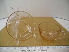 Vintage Arcoroc France Pink Swirl Depression Glass Tea Cup & Saucer Set - EUC