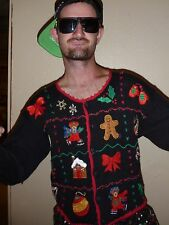 S Small VTG UGLY TACKY Christmas Sweater Party Cardigan Nutcracker Mens Womens