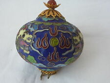Old Chinese Dragon Painted Outlined Cloisonne Bronze Ball Hanging Ornament