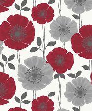 Fine Decor Poppie Wallpaper FD14866 Poppy Flower Floral Foliage Red Silver