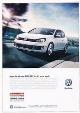 2010 VW Volkswagen GTI Original Advertisement Print Car Ad J529